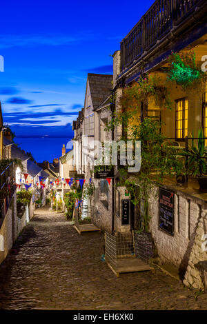 Steep narrow cobbled street leading down to the world famous fishing village of Clovelly, Devon, England, United - Stock Photo