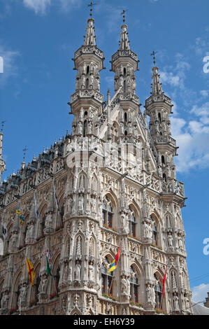 The incredibly detailed Stadhuis (town hall) in Leuven, Flemish Brabant, Belgium. - Stock Photo