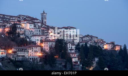 Ancient town Santa Maria Del Monte in Varese, Italy at night - Stock Photo
