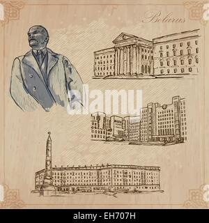 Traveling series: BELARUS (set no.1)  - Collection of an hand drawn vector illustrations. Each drawing comprise - Stock Photo