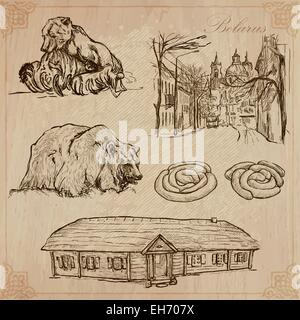 Traveling series: BELARUS (set no.7)  - Collection of an hand drawn vector illustrations. Each drawing comprise - Stock Photo