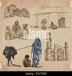 Traveling series: AFGHANISTAN (set no.1)  - Collection of an hand drawn vector illustrations. Each drawing comprise - Stock Photo