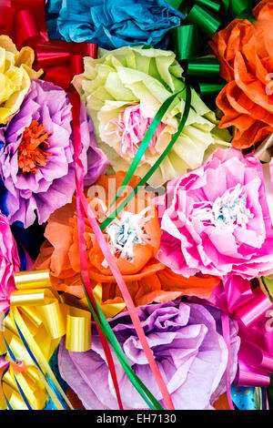 Decorative paper flowers, La Villita, San Antonio, Texas USA - Stock Photo