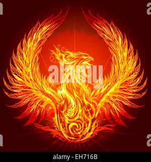 Illustration with burning phoenix drawn in heraldic style - Stock Photo