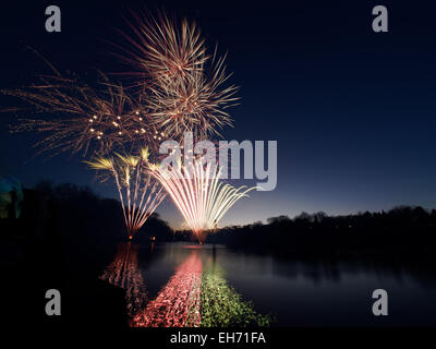 Nottingham, UK. 8th March, 2015. Chinese New Year fireworks at University Park Nottingham UK. 8th March 2015 Rearranged - Stock Photo