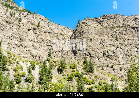 Giant granite canyon walls seen from Naxwit Picnic Site, on the Duffey Lake Road (Highway 99) near Lillooet, BC, - Stock Photo