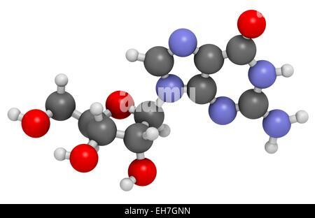 Guanosine purine nucleoside molecule - Stock Photo