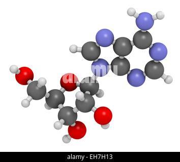 Adenosine purine nucleoside molecule - Stock Photo