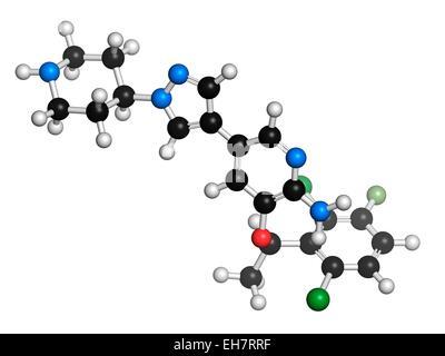 Crizotinib anti-cancer drug molecule - Stock Photo
