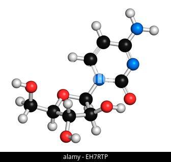 Cytarabine chemotherapy drug molecule - Stock Photo
