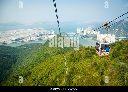 Ngong Ping 360 Cable Car to Ngong Ping Village on Lantau Island, Hong Kong - Stock Photo