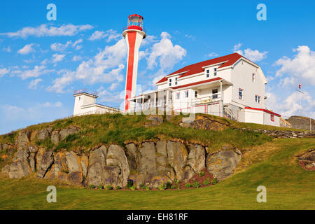 Cape Forchu Lighthouse - Yarmouth, Nova Scotia, Canada - Stock Photo