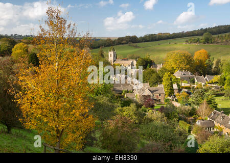Village in autumn, Naunton, Cotswolds, Gloucestershire, England, United Kingdom, Europe - Stock Photo