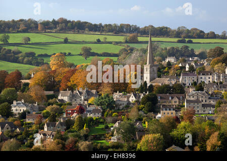 St. Mary's Parish Church and Village in autumn, Painswick, Cotswolds, Gloucestershire, England, United Kingdom, - Stock Photo
