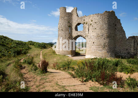 Pennard Castle and Three Cliffs Bay, Gower Peninsula, Swansea, West Glamorgan, Wales, United Kingdom, Europe - Stock Photo