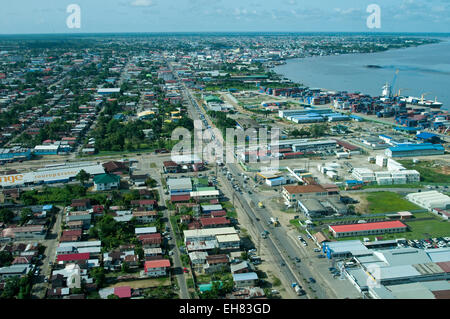 Aerial view of Paramaribo and the Suriname River, Paramaribo, Suriname, South America - Stock Photo