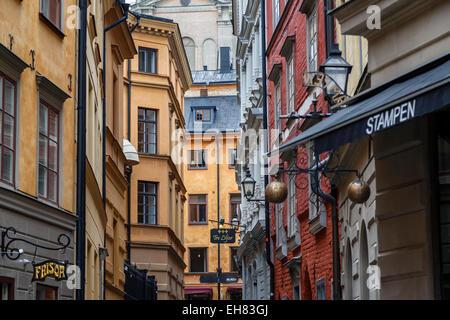 Buildings in Gamla Stan, Stockholm, Sweden, Scandinavia, Europe - Stock Photo