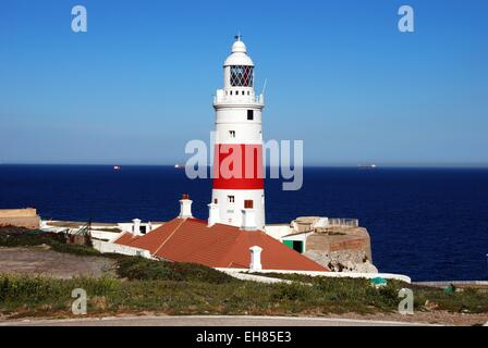 Europa point lighthouse, Gibraltar, United Kingdom, Western Europe. - Stock Photo