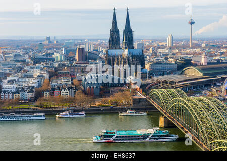 Cologne Cathedral and Hohenzollern Bridge, Cologne (Koln), North Rhine Westphalia, Germany, Europe - Stock Photo