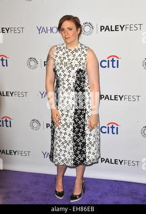 Los Angeles, CA, USA. 8th Mar, 2015. Lena Dunham at arrivals for 32nd Annual PALEYFEST Honors HBO's GIRLS, The Dolby - Stock Photo