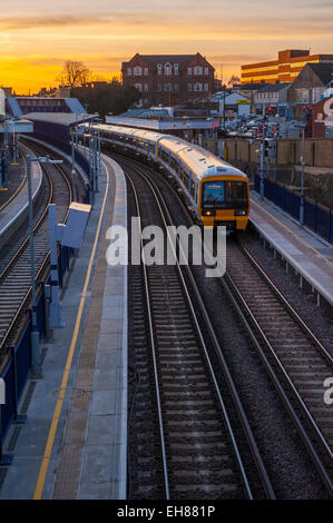 North kent lines commuter train sitting on platform 2, on the down line to the medway towns. At gravesned station. - Stock Photo