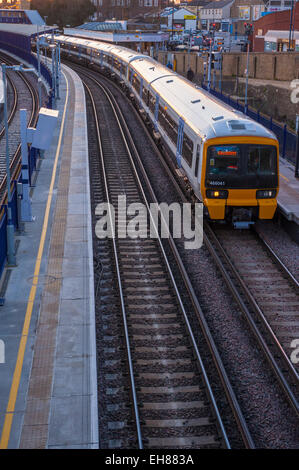 North kent lines commuter train sitting on platform 2, on the down line to the medway towns. At gravesend station. - Stock Photo