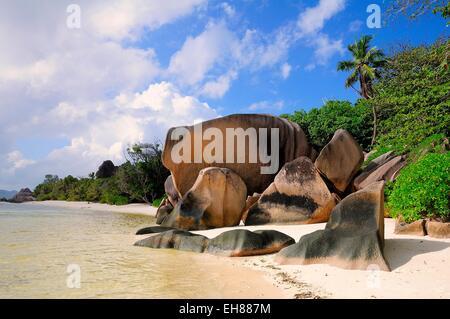 Granite rocks on the beach, La Digue Island, La Digue and Inner Islands, Seychelles - Stock Photo