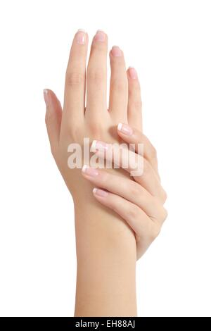 Beauty woman hands with perfect french manicure isolated on a white background - Stock Photo