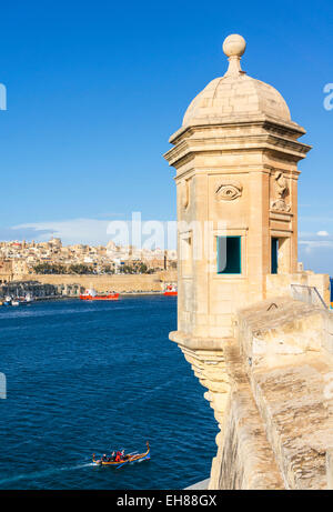 Vedette watchtower (Gardjola sentry box) and Valletta Grand Harbour, Senglea, The Three Cities, Malta, Mediterranean, - Stock Photo