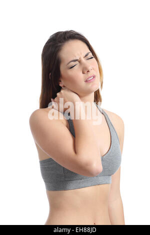 Fitness woman with neck pain pressing with her hand isolated on a white background - Stock Photo