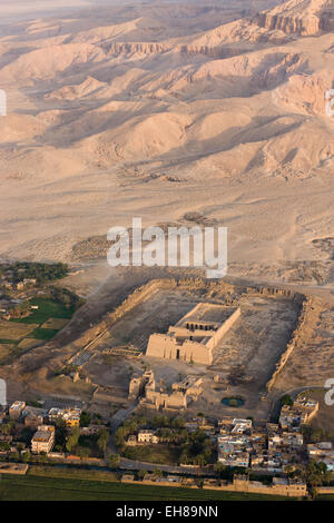 Medinet Habu Temple near Luxor from a hot air balloon, Thebes, UNESCO World Heritage Site, Egypt, North Africa, - Stock Photo