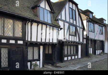 old timber framed houses  in Rye in east sussex - Stock Photo