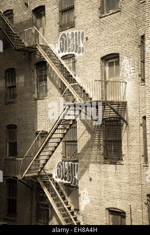 Fire escapes on an old building, Meatpacking Districrt, Manhattan, New York City, New York, USA - Stock Photo