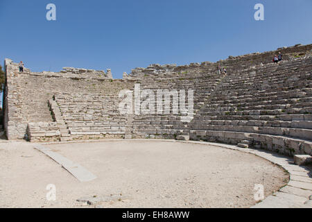 The Greek theatre in Segesta, Trapani, Sicily, Italy, Europe - Stock Photo