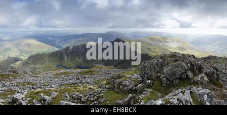 View south from the summit of Cadair Idris, towards Craig Cau. Snowdonia National Park. Gwynedd, Wales, UK.