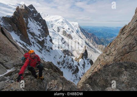 Europe, France, Haute Savoie, Rhone Alps, Chamonix, Cosmique Arete on Aiguille du Midi (MR) - Stock Photo