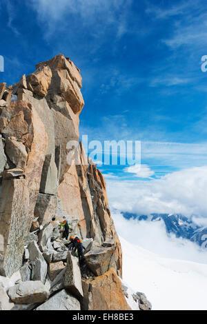 Europe, France, Haute Savoie, Rhone Alps, Chamonix, Cosmique Arete on Aiguille du Midi - Stock Photo
