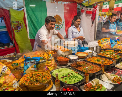 Mexican food stall in Brick Lane Market, London, England, UK - Stock Photo