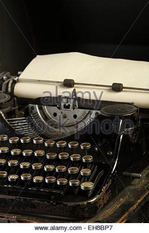macro photography studio environment was old typewriter - Stock Photo