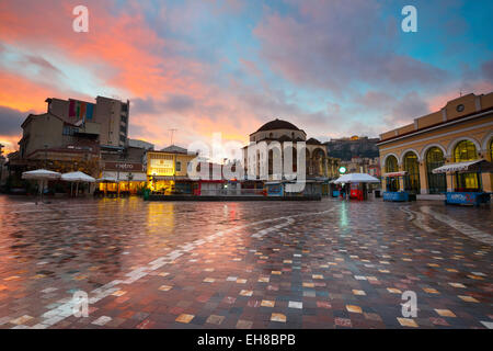 Monastiraki square early in the morning, Athens, Greece - Stock Photo