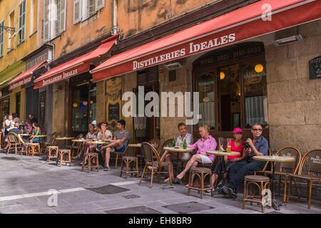 French cafe in Nice, France, Cote d'Azur - Stock Photo