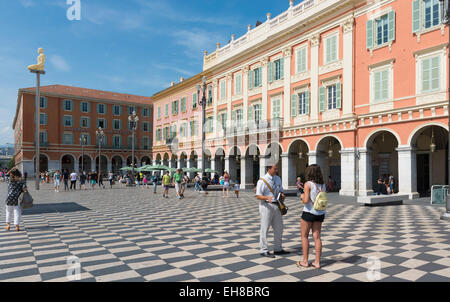 Place Massena square, Nice, Cote d'Azur, Provence, France Riviera, Europe - with sculpture column - Stock Photo