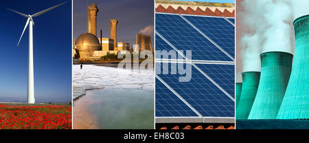 Energy and Power Generation - Wind Power, Nuclear Power, Solar Power and Coal Powered Power Plant. - Stock Photo