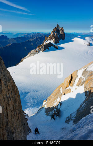 Europe, France, Haute Savoie, Rhone Alps, Chamonix, Aiguille du Midi and Chere couloir on Mont Blanc du Tacul - Stock Photo