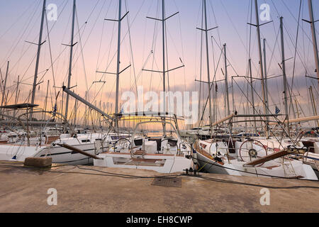 Sunset in Alimos marina in Athens, Greece. - Stock Photo