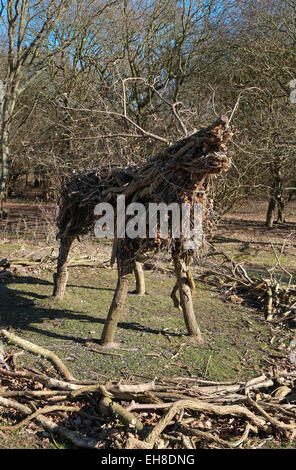 stag handmade from tree branches, sticks and twigs - Stock Photo