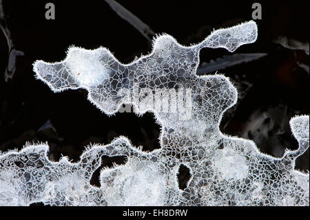 close up of a piece of ice with fine shapes and details , covered with frost - Stock Photo