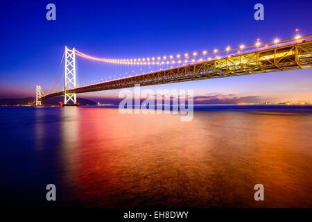 Kobe, Japan at the Okashi Kaikyo Ohashi Bridge spanning the Seto Inland Sea. - Stock Photo
