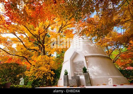 Pagoda during the fall at Ryoan-ji Temple in Kyoto, Japan. - Stock Photo