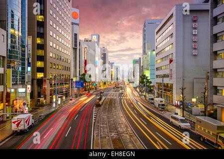 Hiroshima Japan Downtown At Aioi Dori Avenue Stock Photo
